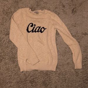 """Tan sweater that says """"Ciao"""""""